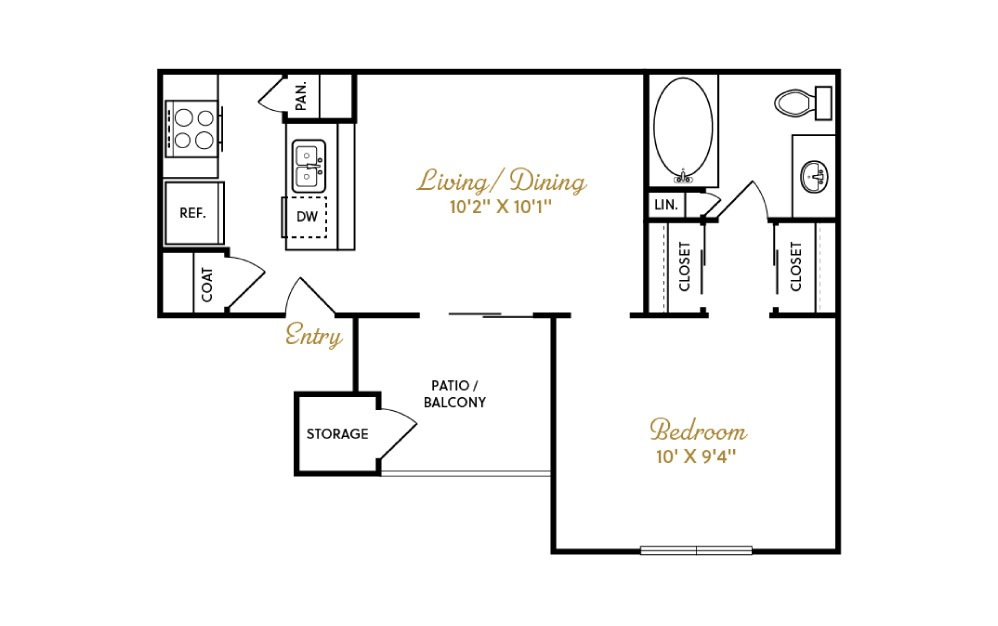 A1 - 1 bedroom floorplan layout with 1 bath and 540 square feet.