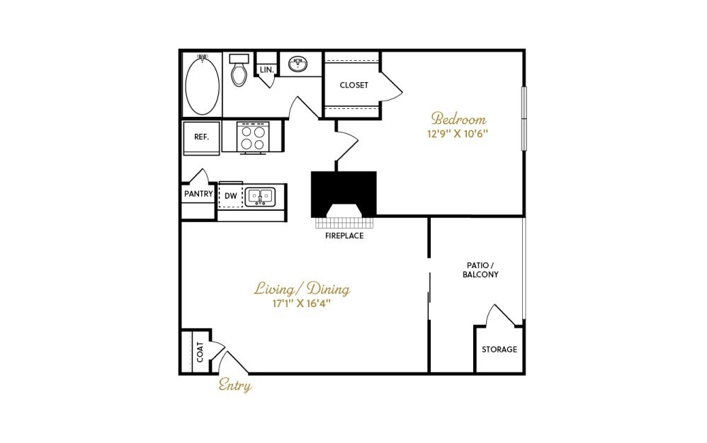 A2 - 1 bedroom floorplan layout with 1 bath and 640 square feet.