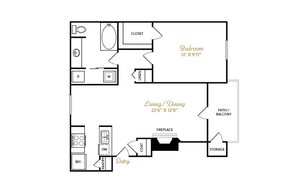 A3 - 1 bedroom floorplan layout with 1 bath and 700 square feet.