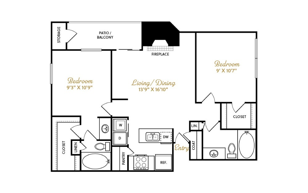 B2 - 2 bedroom floorplan layout with 2 baths and 965 square feet.